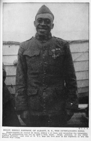 Henry Johnson (World War I soldier) - Johnson in 1918, wearing his Croix de Guerre.  Note, too, the two wound chevrons on his lower right sleeve.