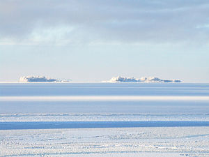Bothnian Bay - The Hermanni islands. A wintery view of a group of small islands in the Bothnian Bay near Oulu, Finland