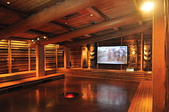 Tulalip - Replica of a traditional longhouse interior at the Hibulb Cultural Center.