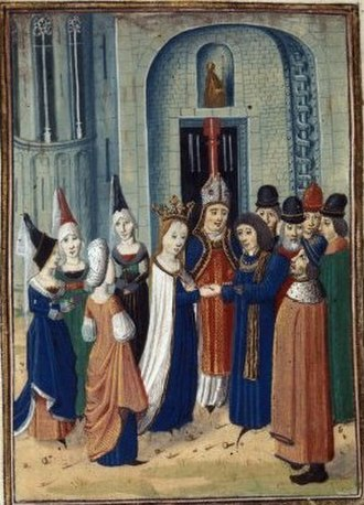 Marie, Duchess of Auvergne - The wedding of Philip of Artois and Marie of Berry. Jean Froissart, Chroniques: BL Harleian MS 4380 f. 6r