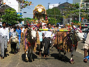 Burmese Indians - A Hindu temple procession in Yangon.