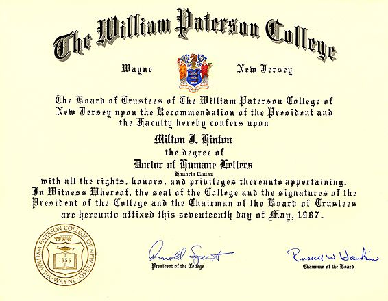 Honorary Doctorate awarded to Milt Hinton by William Patterson College (1987), from the Milton J. and Mona C. Hinton Collection, Oberlin Conservatory Library special collections