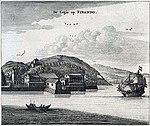 View of VOC compound at Hirado island -- west coast of Kyushu (c1669).
