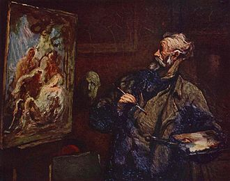 Painting - Honoré Daumier (1808–79), The Painter.  Oil on panel with visible brushstrokes.