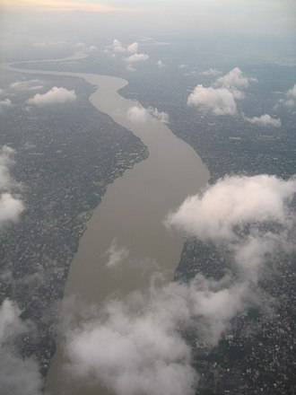 Hooghly River - The Hooghly River viewed over the town of Bally, Howrah