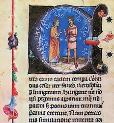 Géza II de Hungría y Luis VII de Francia. Imagen de la crónica ilustrada húngara. siglo XIV.
