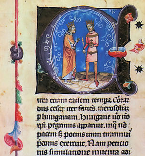 Louis VII of France - Géza II of Hungary and Louis VII of France. Image from the Hungarian Chronicon Pictum (14th century).