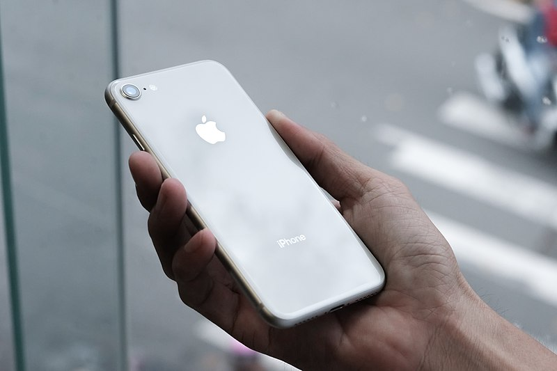 File:IPhone 8 silver with white rear.jpg