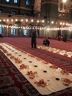 Ramadan - Iftar at Sultan Ahmed Mosque in Istanbul, Turkey