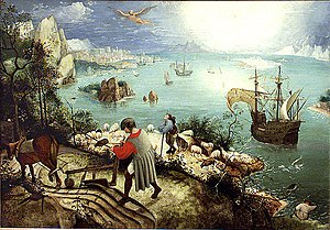 musee des beaux arts by wh auden and landscape with the fall of icarus by pieter brueghel essay In 1938, auden visited the museum of fine arts in brussels and views a painting called fall of icarus by peter brueghel as they say, life imitates art, and this painting struck a chord with auden, as he saw in it a very relevant example of the apathy and moral crisis which he was dealing within fascist germany.