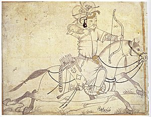 A Timurid drawing of an Ilkhanid horse archer. Signed (lower right) Muhammad ibn Mahmudshah al-Khayyam Iran, early 15th century. Ink and gold on paper