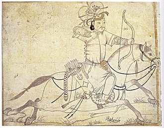 Mounted archery - A Timurid drawing of an Ilkhanid horse archer. Signed (lower right) Muhammad ibn Mahmudshah al-Khayyam Iran, early 15th century. Ink and gold on paper