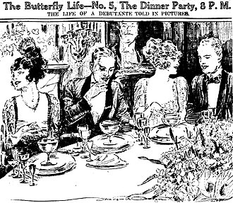 Table setting - Place settings are conspicuous in this 1920 sketch by reporter-artist Marguerite Martyn of the St. Louis Post-Dispatch.