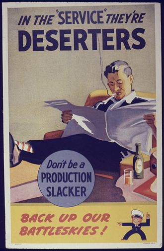 Slacker - 1942 US poster cautioning against slacking in the workplace