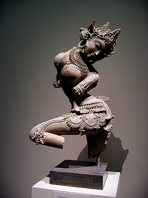 Apsara - A 12th-century sandstone statue of an Apsara from Uttar Pradesh, India.
