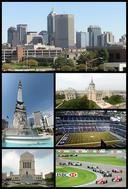 Medsols från överst: Centrala Indianapolis sett från IUPUI, Indiana Statehouse, Lucas Oil Stadium, Indianapolis Motor Speedway, Indiana World War Memorial Plaza och Soldiers' and Sailors' Monument.