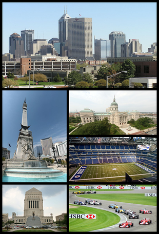"""Clockwise from top: <a href=""""http://search.lycos.com/web/?_z=0&q=%22Downtown%20Indianapolis%22"""">Downtown Indianapolis</a> skyline, as seen from <a href=""""http://search.lycos.com/web/?_z=0&q=%22Indiana%20University-Purdue%20University%20Indianapolis%22"""">IUPUI</a>, the <a href=""""http://search.lycos.com/web/?_z=0&q=%22Indiana%20Statehouse%22"""">Indiana Statehouse</a>, <a href=""""http://search.lycos.com/web/?_z=0&q=%22Lucas%20Oil%20Stadium%22"""">Lucas Oil Stadium</a>, <a href=""""http://search.lycos.com/web/?_z=0&q=%22Indianapolis%20Motor%20Speedway%22"""">Indianapolis Motor Speedway</a>, the <a href=""""http://search.lycos.com/web/?_z=0&q=%22Indiana%20World%20War%20Memorial%20Plaza%22"""">Indiana World War Memorial Plaza</a>, and the <a href=""""http://search.lycos.com/web/?_z=0&q=%22Soldiers%27%20and%20Sailors%27%20Monument%20%28Indianapolis%29%22"""">Soldiers' and Sailors' Monument</a>."""