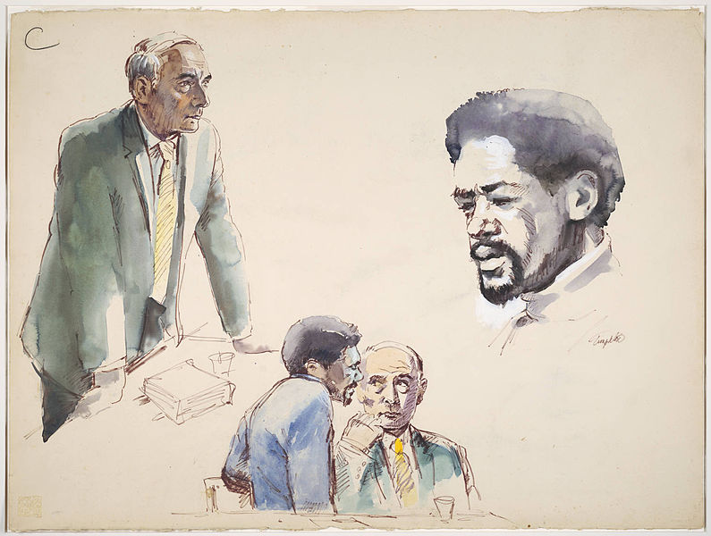 File:Ink Drawing and watercolor painting of scenes depicting Charles R. Gary standing with hands on table.jpg