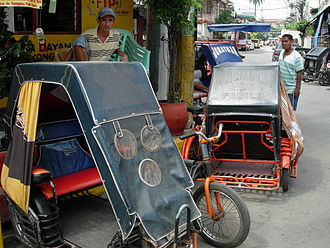 "Cycle rickshaw - Typical Manila pedicabs, or ""trisikad."""