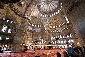 Sultan Ahmed Mosque - Interior view, featuring the prayer area and the main dome.