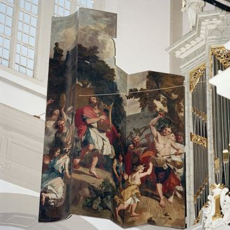 Westerkerk - Left inside Panel of the Main organ with King David dancing in front of the Ark of the Covenant'. Made by Gerard de Lairesse in 1686