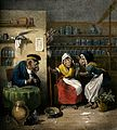Interior of a phlebotomist's shop with anthropomorphic parti Wellcome V0011060.jpg