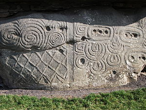 Newgrange - Megalithic art on one of the kerbstones
