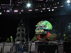 The Final Frontier World Tour - The two different representations of the band's mascot, Eddie, as seen in Bergen and Helsinki.