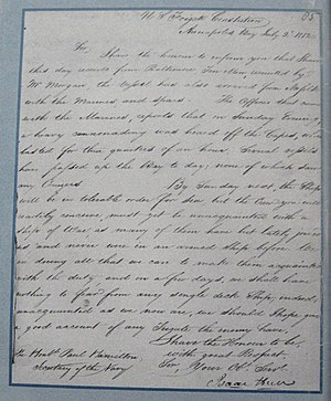 "Isaac Hull - ""We shall have nothing to fear from any single deck Ship"".Letter Isaac Hull to Paul Hamilton July 2, 1812 re status of USS Constitution and crew. NARA Washington D.C., RG45, CL, 1812 Volume 2, No.85."