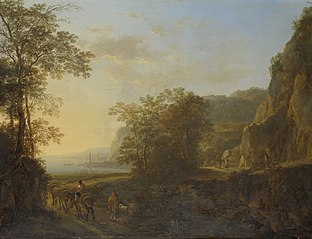 Italian landscape with a view of a harbor