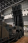 JGSDF Type 12 SSM launcher unit(04-0604, launch mode) missile canister left front view at Niconico chokaigi April 28, 2018 01.jpg