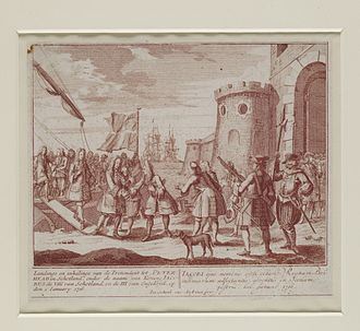 Jacobite rising of 1715 - Broadside image: the Pretender, Prince James, Landing at Peterhead on 22 December 1715