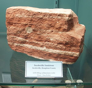 Red-colored rock with light-colored markings.
