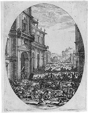 Jacques Callot - Massacre of the Innocents, showing the use of multiple stoppings-out to create the fainter lines of the distant view. 13.7 x 10.5 cm