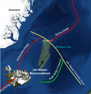 Jan Mayen Microcontinent - Location of the Jan Mayen Microcontinent between the active Kolbeinsey Ridge, the inactive Aegir Ridge and the Jan Mayen Fracture zone
