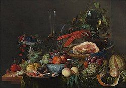 Хем, Ян Давидс де: Still life with ham, lobster and fruit