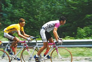 1997 Tour de France - Jan Ullrich wearing the race leader's yellow jersey as the Tour passed through the Vosges mountains