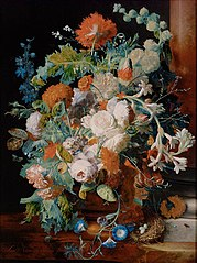 Flower Still Life near a Pedestal