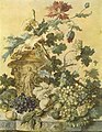 Jan van Huysum - Flowers in an urn decorated with figures surrounded by fruit on a plinth.jpg