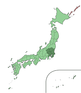 Kantō region - The Kantō region in comparison to the rest of Japan