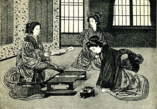 Japanese poetess and her listeners. Before 1902