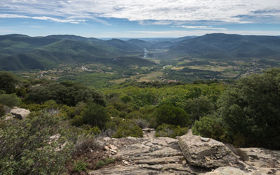 The Jaur Valley at right (West) and the Orb Valley on the left (East) and at center (South). Mons, Hérault, France. Haut-Languedoc Regional Natural Park.