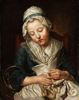 Jean-Baptiste Greuze Tricoteuse endormie