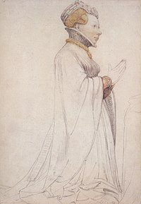 Jeanne de Boulogne, Duchess of Berry, drawing of sculpture, Hans Holbein the Younger.jpg