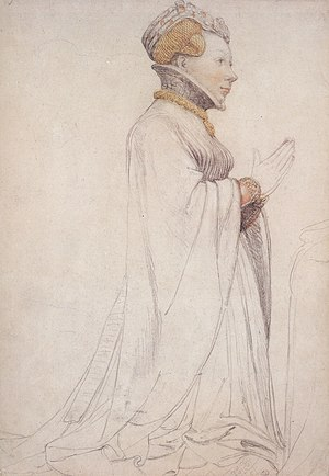 French nobility - Image: Jeanne de Boulogne, Duchess of Berry, drawing of sculpture, Hans Holbein the Younger