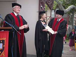 Jim Bolger - Bolger presides over a student's graduation at the University of Waikato.