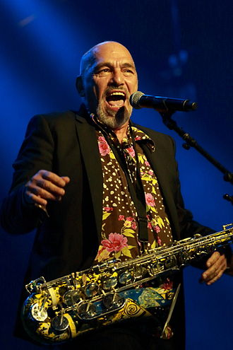 The Black Sorrows - Joe Camelleri performs with the Black Sorrows at Byron Bay Bluesfest, April 2014.