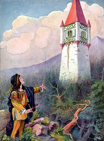 Ficheiro:Johnny Gruelle illustration - Rapunzel - Project Gutenberg etext 11027.jpg