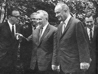 Glassboro Summit Conference - Premier Alexei Kosygin and President Lyndon Johnson during the meeting in Glassboro.