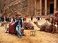 Jordan, Petra, (Pharaoh's Treasury, native people and camels).jpg